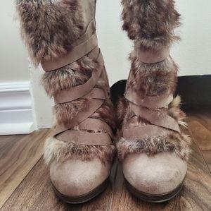 Faux fur high heel boots